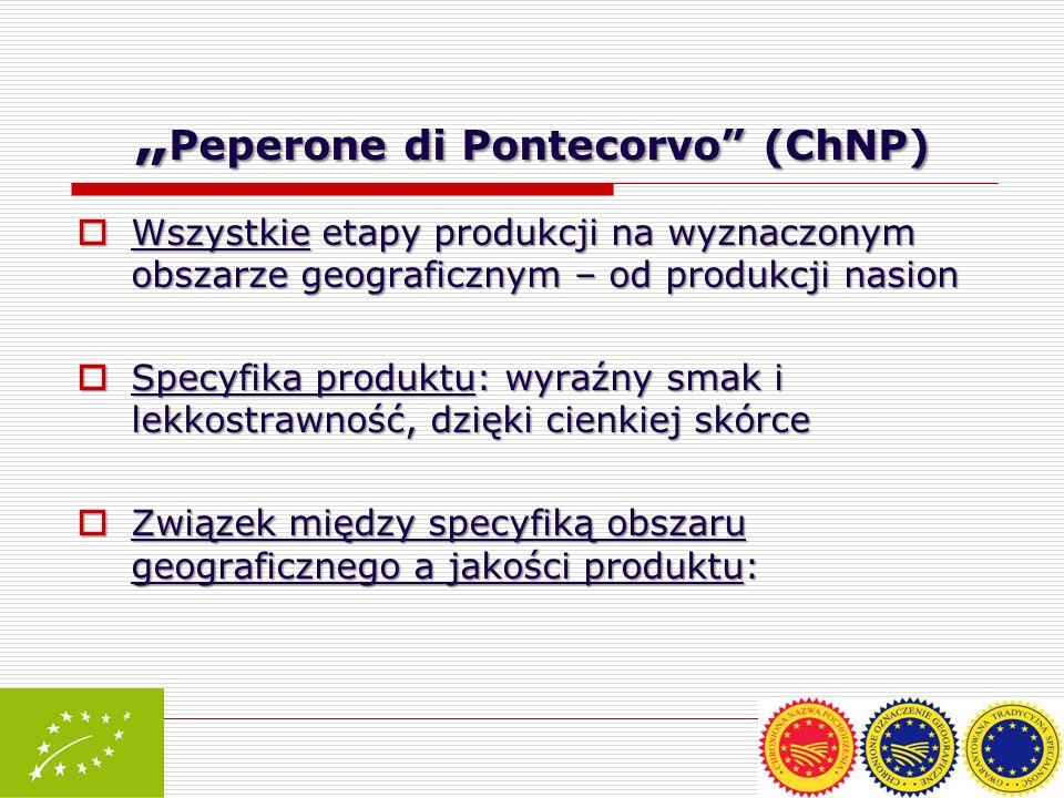 Peperone di Pontecorvo (ChNP) Peperone di Pontecorvo (ChNP) Wszystkie etapy produkcji na wyznaczonym obszarze geograficznym – od produkcji nasion Wszy