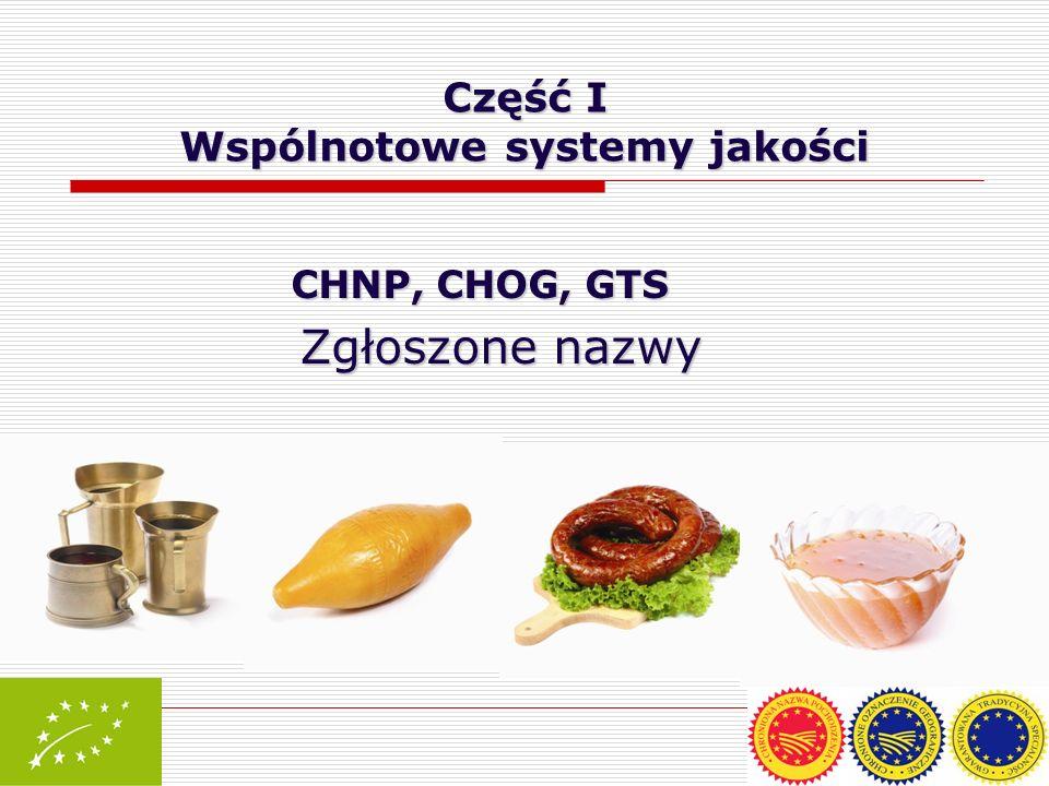 Część I Wspólnotowe systemy jakości CHNP, CHOG, GTS Zgłoszone nazwy