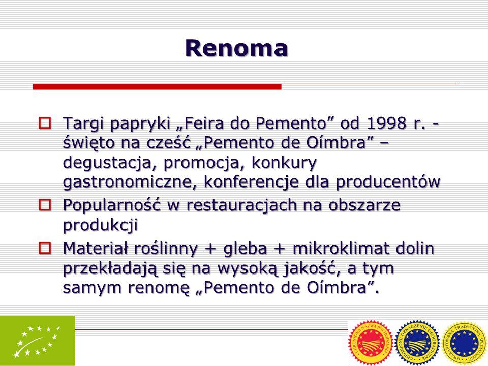 Targi papryki Feira do Pemento od 1998 r. - święto na cześć Pemento de Oímbra – degustacja, promocja, konkury gastronomiczne, konferencje dla producen