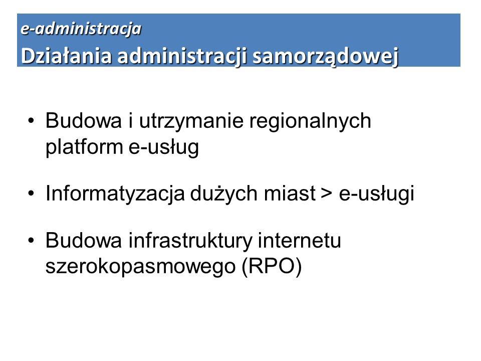 Budowa i utrzymanie regionalnych platform e-usług Informatyzacja dużych miast > e-usługi Budowa infrastruktury internetu szerokopasmowego (RPO) e-admi