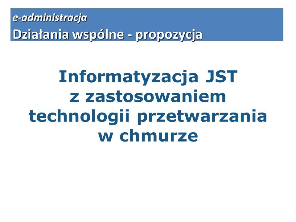 Informatyzacja JST z zastosowaniem technologii przetwarzania w chmurze e-administracja Działania wspólne - propozycja
