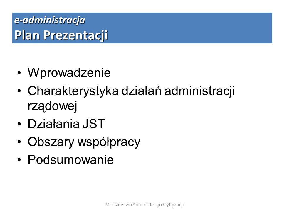 Wprowadzenie Charakterystyka działań administracji rządowej Działania JST Obszary współpracy Podsumowanie e-administracja Plan Prezentacji Ministerstw