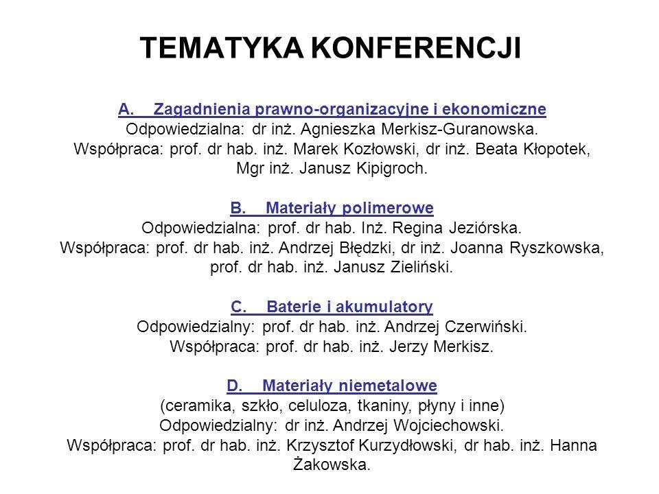TEMATYKA KONFERENCJI A.Zagadnienia prawno-organizacyjne i ekonomiczne Odpowiedzialna: dr inż.