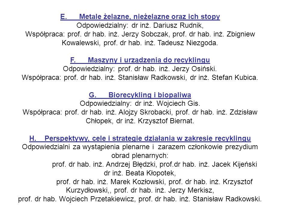 E. Metale żelazne, nieżelazne oraz ich stopy Odpowiedzialny: dr inż. Dariusz Rudnik, Współpraca: prof. dr hab. inż. Jerzy Sobczak, prof. dr hab. inż.