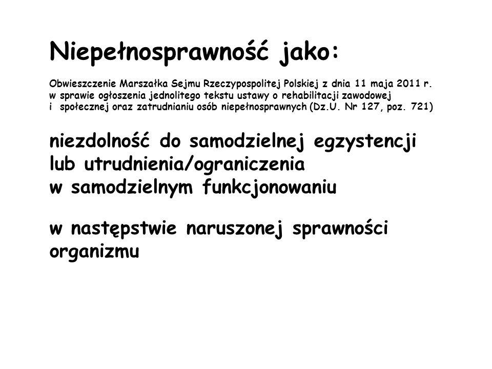 Niepełnosprawność jako: Obwieszczenie Marszałka Sejmu Rzeczypospolitej Polskiej z dnia 11 maja 2011 r. w sprawie ogłoszenia jednolitego tekstu ustawy