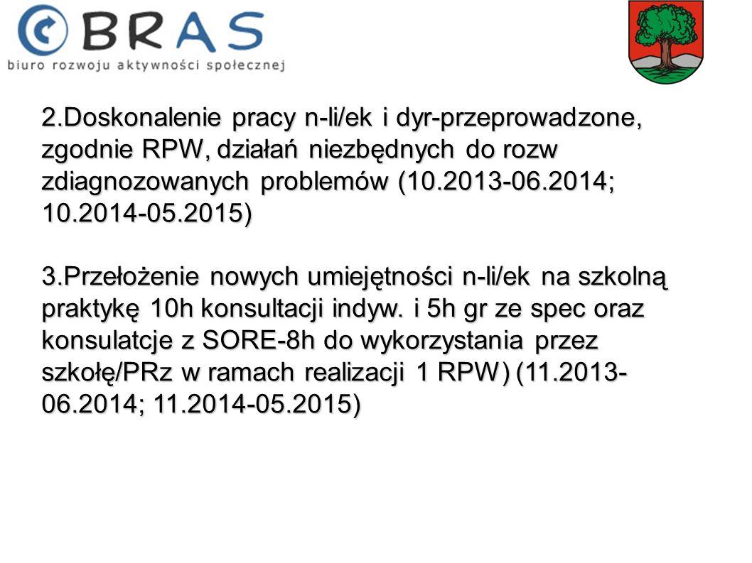 2.Doskonalenie pracy n-li/ek i dyr-przeprowadzone, zgodnie RPW, działań niezbędnych do rozw zdiagnozowanych problemów (10.2013-06.2014; 10.2014-05.201