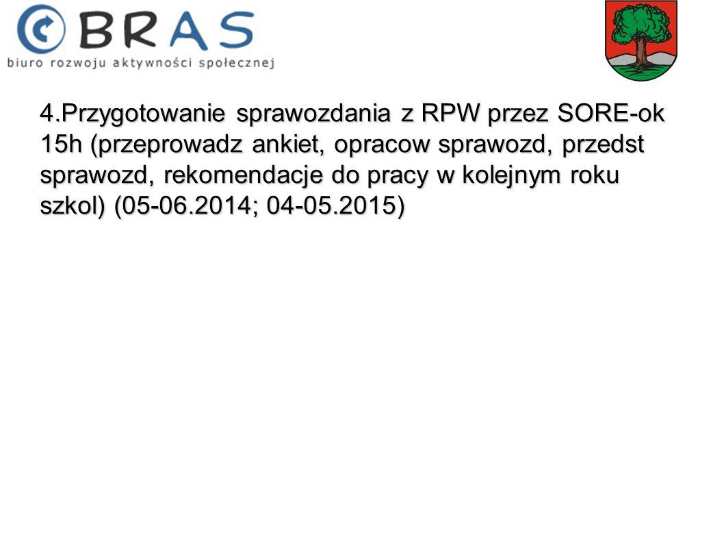 4.Przygotowanie sprawozdania z RPW przez SORE-ok 15h (przeprowadz ankiet, opracow sprawozd, przedst sprawozd, rekomendacje do pracy w kolejnym roku sz