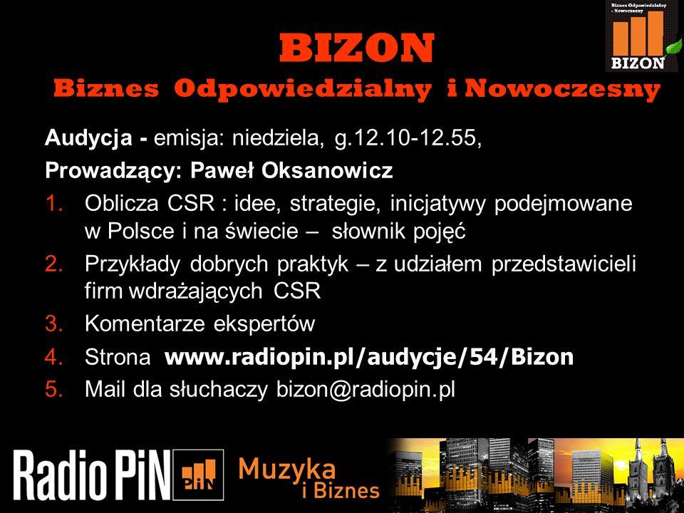 11/5/20133 Audycja - emisja: niedziela, g.12.10-12.55, Prowadzący: Paweł Oksanowicz 1.Oblicza CSR : idee, strategie, inicjatywy podejmowane w Polsce i