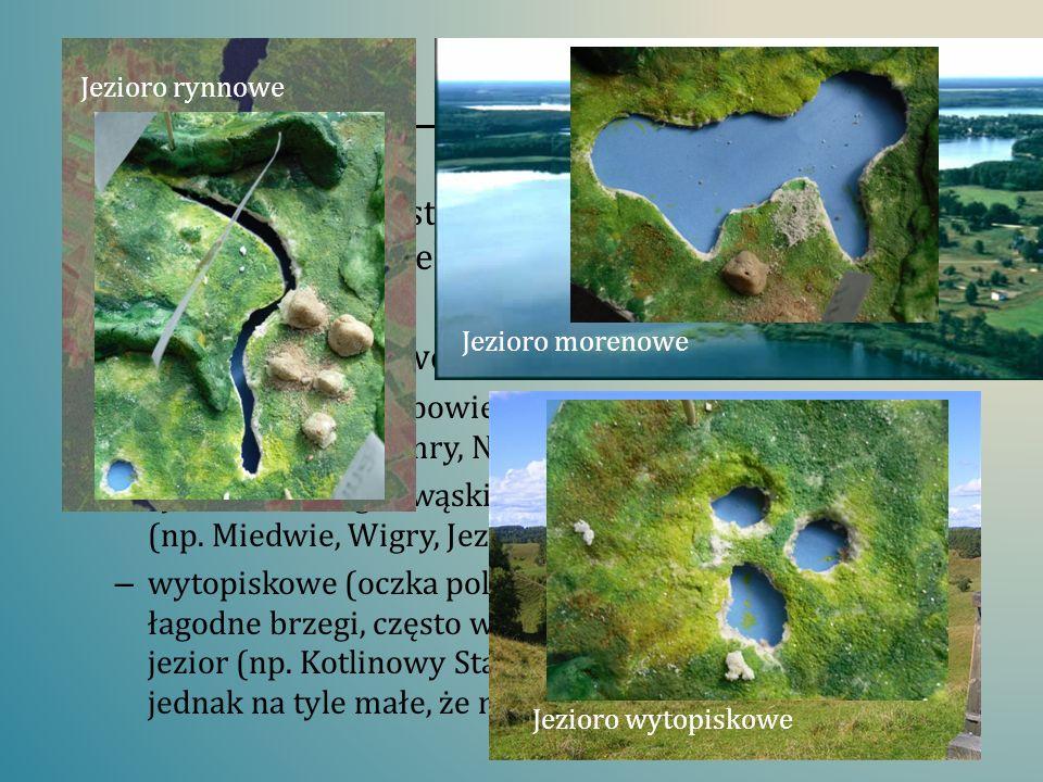 Jeziora polodowcowe Rodzaj jeziora powstałego w zagłębieniu terenu utworzonym wskutek działalności lodowca lub lądolodu. Jeziora polodowcowe dzielimy