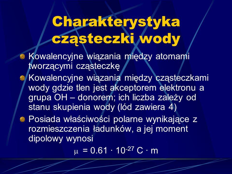 Struktura tetraedryczna lodu Charakterystyka: 1.Każdy wierzchołek tetraedru zawiera cząsteczkę wody 2.Odległość między atomami tlenu wynosi 2,76 · 10 -10 m 3.Odległości miedzy tlenem i wodorem tej samej cząsteczki wynoszą 0,99 · 10 -10 m 4.Odległości miedzy tlenem i wodorem sąsiednich cząsteczek wynoszą 1,77 · 10 -10 m