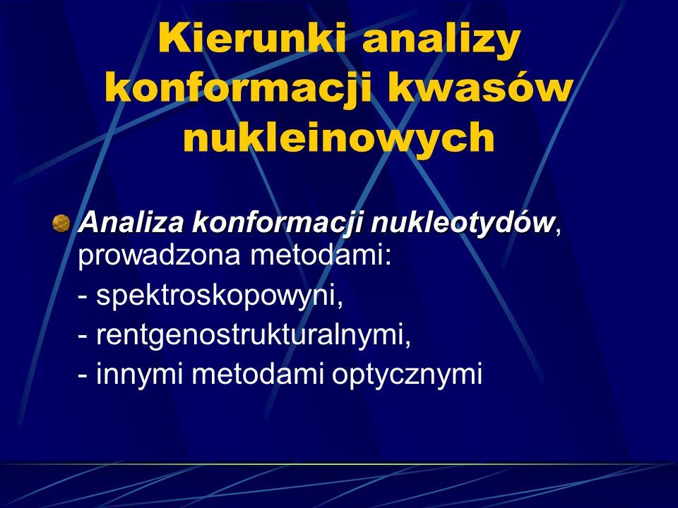 Kierunki analizy konformacji kwasów nukleinowych Analiza konformacji nukleotydów Analiza konformacji nukleotydów, prowadzona metodami: - spektroskopow