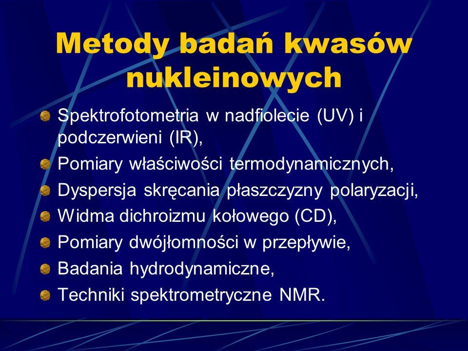 Metody badań kwasów nukleinowych Spektrofotometria w nadfiolecie (UV) i podczerwieni (IR), Pomiary właściwości termodynamicznych, Dyspersja skręcania