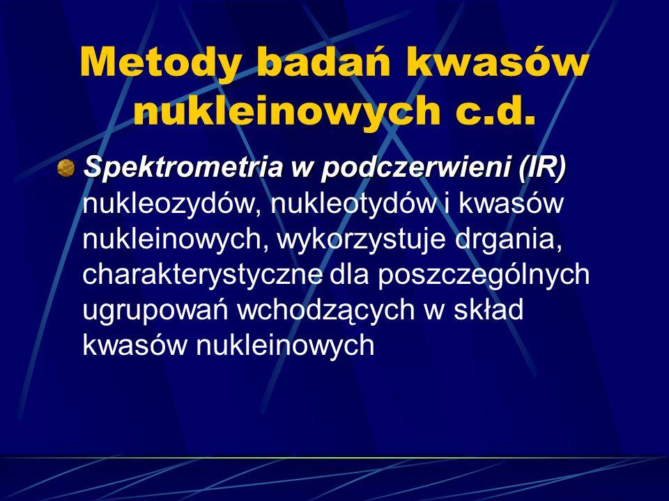 Metody badań kwasów nukleinowych c.d. Spektrometria w podczerwieni (IR) Spektrometria w podczerwieni (IR) nukleozydów, nukleotydów i kwasów nukleinowy
