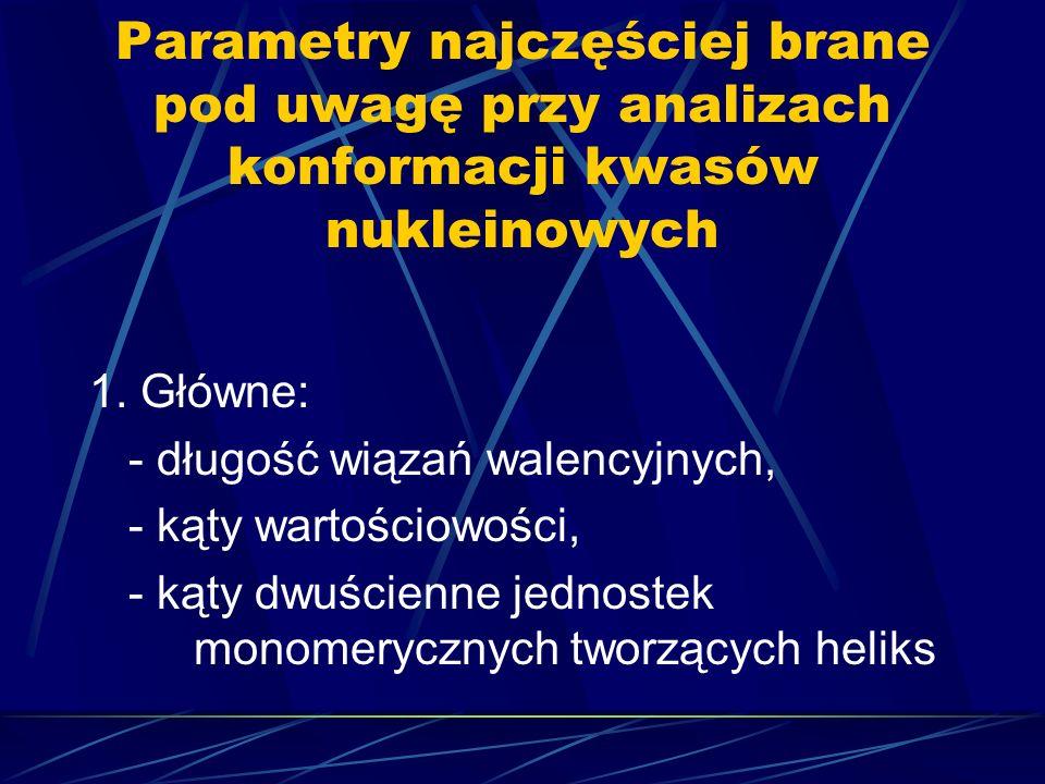 Parametry najczęściej brane pod uwagę przy analizach konformacji kwasów nukleinowych 1. Główne: - długość wiązań walencyjnych, - kąty wartościowości,