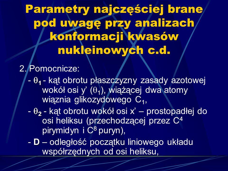Parametry najczęściej brane pod uwagę przy analizach konformacji kwasów nukleinowych c.d. 2. Pomocnicze: 1 - 1 - kąt obrotu płaszczyzny zasady azotowe