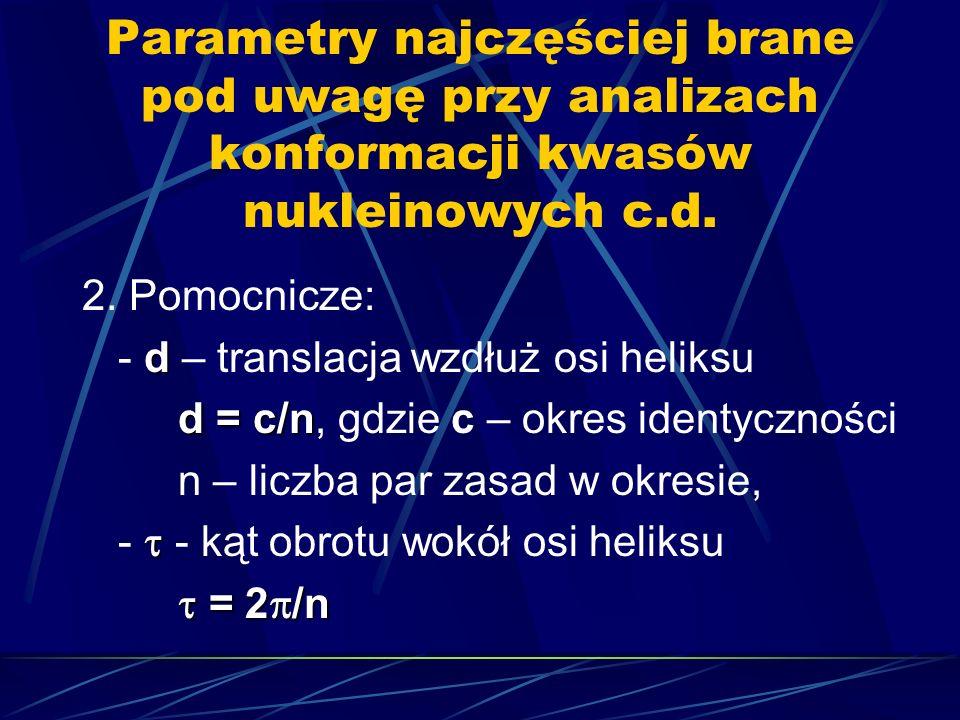 Parametry najczęściej brane pod uwagę przy analizach konformacji kwasów nukleinowych c.d. 2. Pomocnicze: d - d – translacja wzdłuż osi heliksu d = c/n