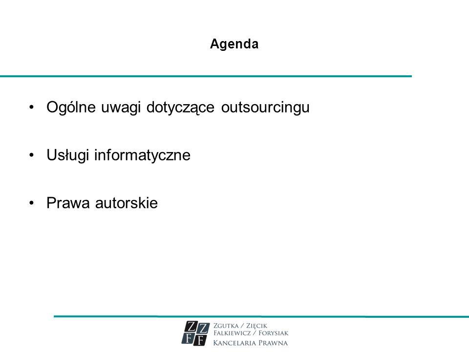 3 Ogólne uwagi dotyczące outsourcingu (1) Outside resource using – wykorzystanie zasobów zewnętrznych Problem robić samemu czy kupować Polskie odpowiedniki: usługi zewnętrzne podwykonawstwo