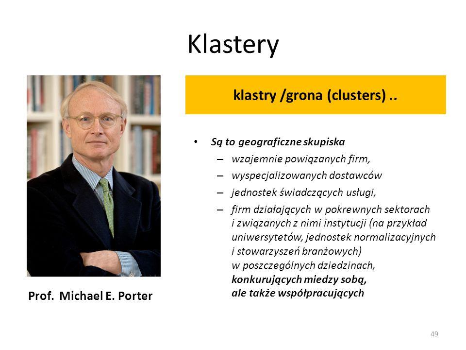 Prof. Michael E. Porter klastry /grona (clusters).. Są to geograficzne skupiska – wzajemnie powiązanych firm, – wyspecjalizowanych dostawców – jednost