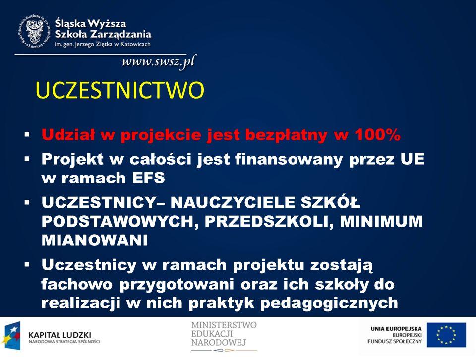CEL PROJEKTU Udoskonalenie, poprawa praktyk pedagogicznych studentów przez przygotowanie do 2014 r. wybranych szkół woj. Śląskiego i Małopolskiego do