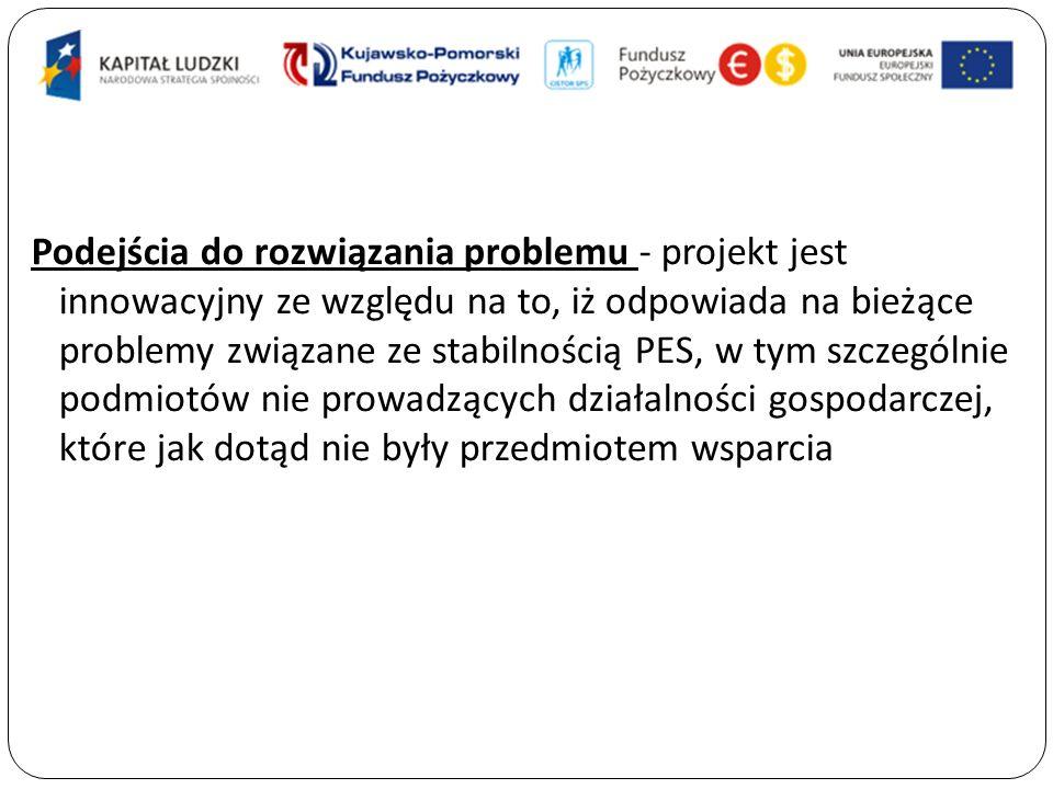 Podejścia do rozwiązania problemu - projekt jest innowacyjny ze względu na to, iż odpowiada na bieżące problemy związane ze stabilnością PES, w tym szczególnie podmiotów nie prowadzących działalności gospodarczej, które jak dotąd nie były przedmiotem wsparcia