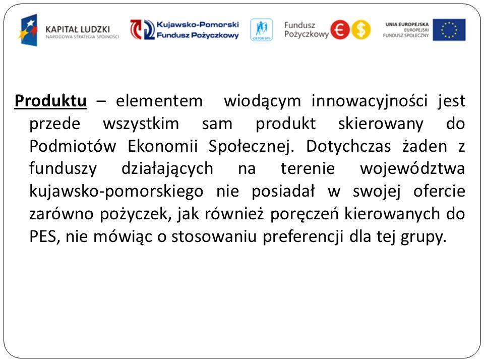 Produktu – elementem wiodącym innowacyjności jest przede wszystkim sam produkt skierowany do Podmiotów Ekonomii Społecznej.