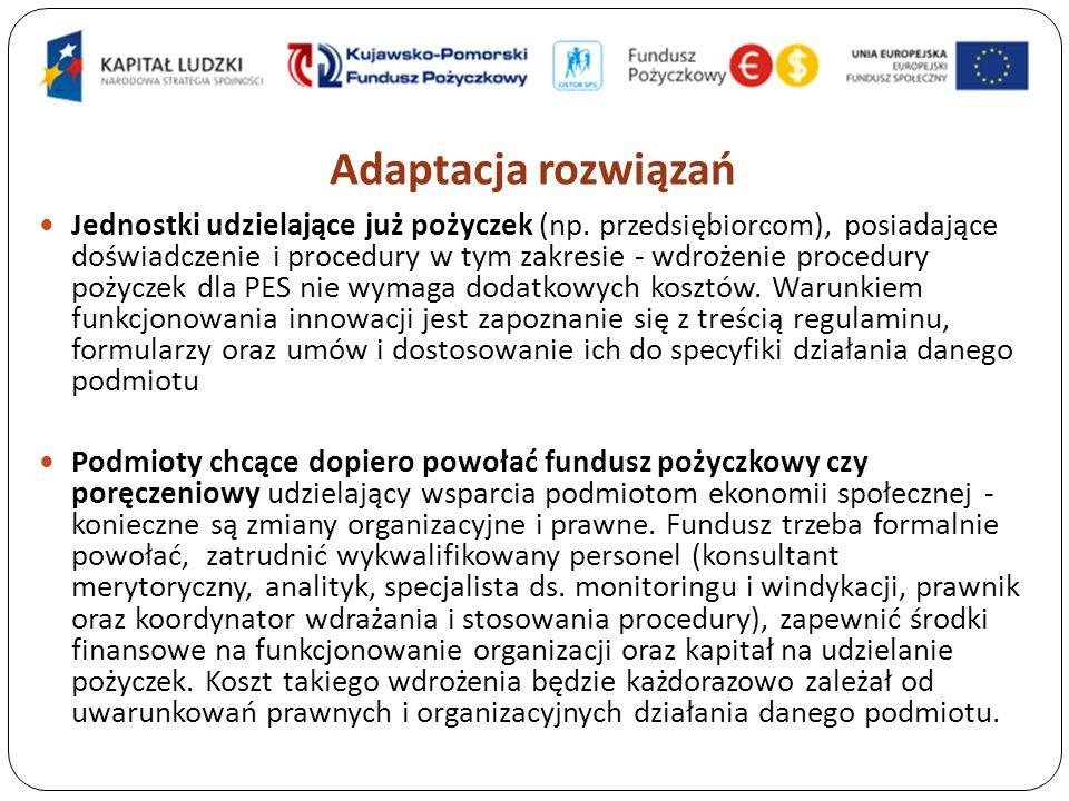 Adaptacja rozwiązań Jednostki udzielające już pożyczek (np.