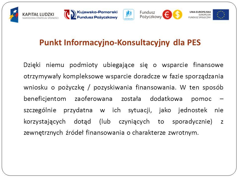 Punkt Informacyjno-Konsultacyjny dla PES Dzięki niemu podmioty ubiegające się o wsparcie finansowe otrzymywały kompleksowe wsparcie doradcze w fazie sporządzania wniosku o pożyczkę / pozyskiwania finansowania.