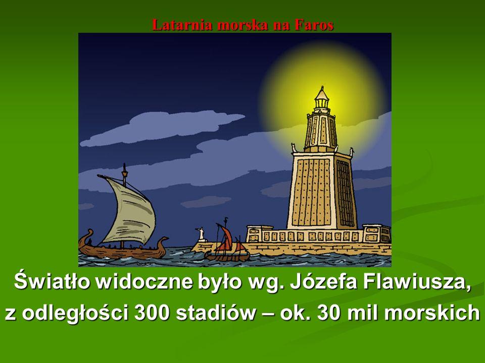 Latarnia morska na Faros Światło widoczne było wg. Józefa Flawiusza, z odległości 300 stadiów – ok. 30 mil morskich