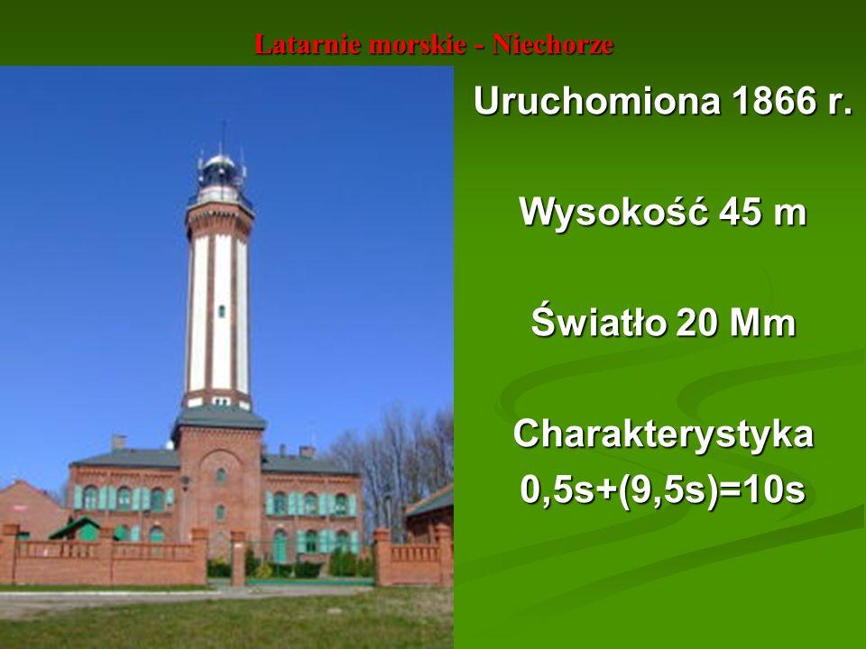 Latarnie morskie - Niechorze Uruchomiona 1866 r. Wysokość 45 m Światło 20 Mm Charakterystyka0,5s+(9,5s)=10s