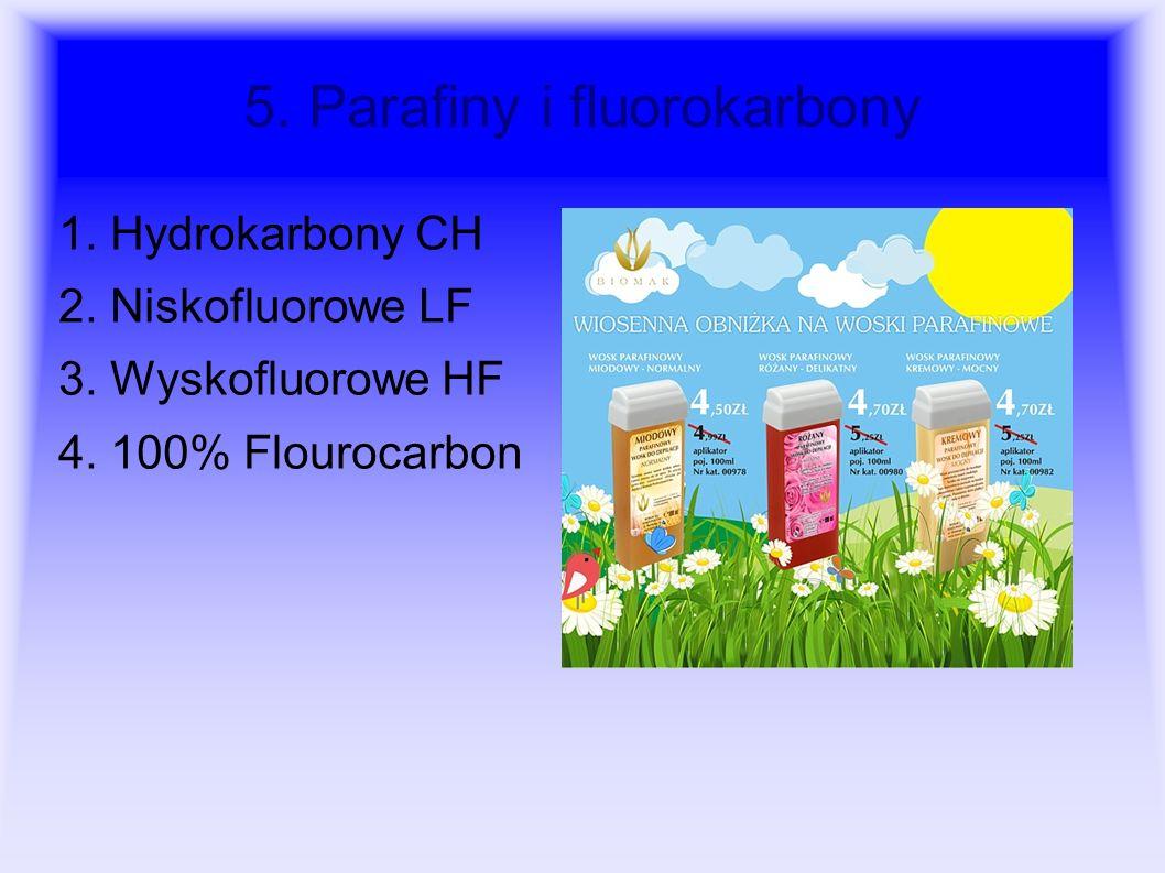 5. Parafiny i fluorokarbony 1. Hydrokarbony CH 2. Niskofluorowe LF 3. Wyskofluorowe HF 4. 100% Flourocarbon