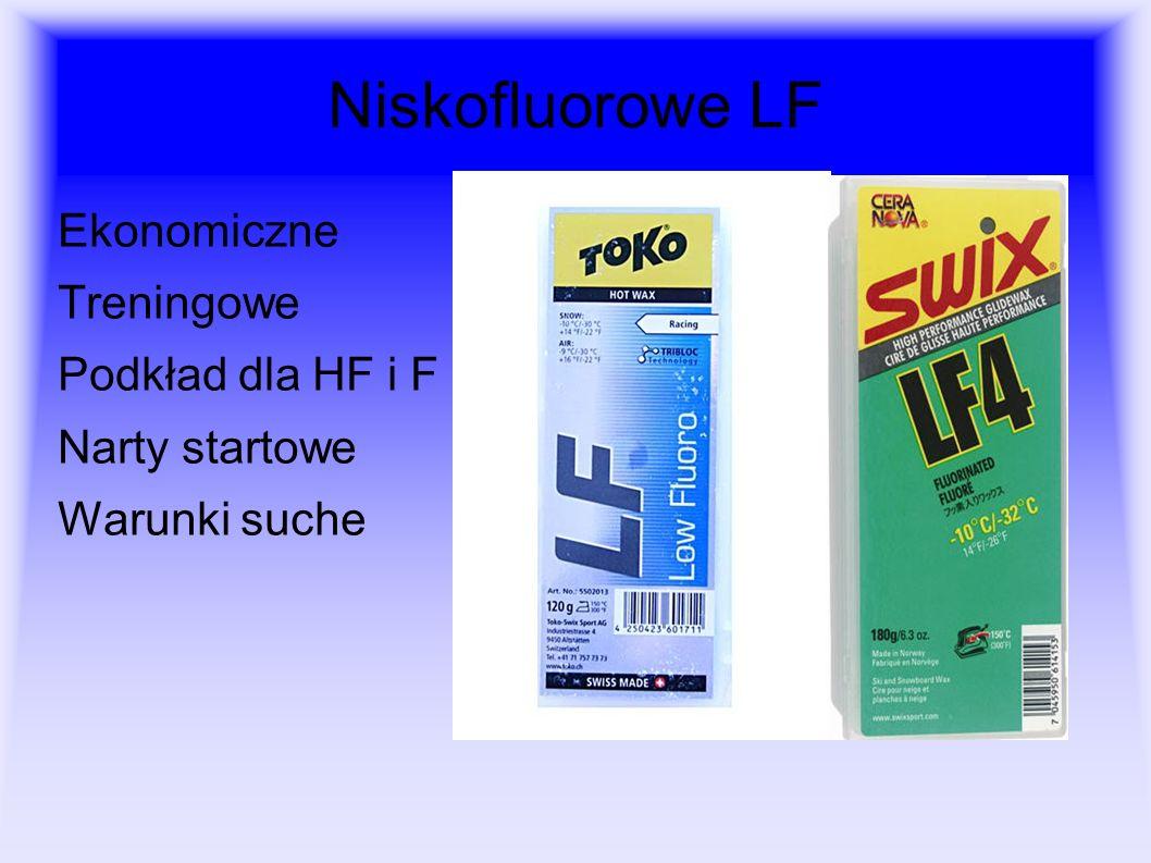 Niskofluorowe LF Ekonomiczne Treningowe Podkład dla HF i F Narty startowe Warunki suche