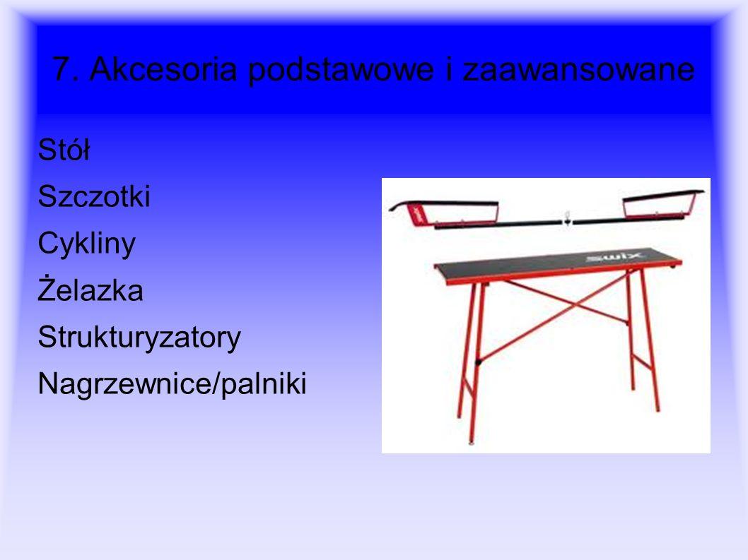 7. Akcesoria podstawowe i zaawansowane Stół Szczotki Cykliny Żelazka Strukturyzatory Nagrzewnice/palniki