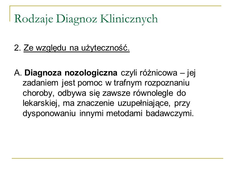 Rodzaje Diagnoz Klinicznych 2. Ze względu na użyteczność. A. Diagnoza nozologiczna czyli różnicowa – jej zadaniem jest pomoc w trafnym rozpoznaniu cho