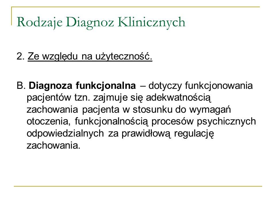 Rodzaje Diagnoz Klinicznych 2. Ze względu na użyteczność. B. Diagnoza funkcjonalna – dotyczy funkcjonowania pacjentów tzn. zajmuje się adekwatnością z