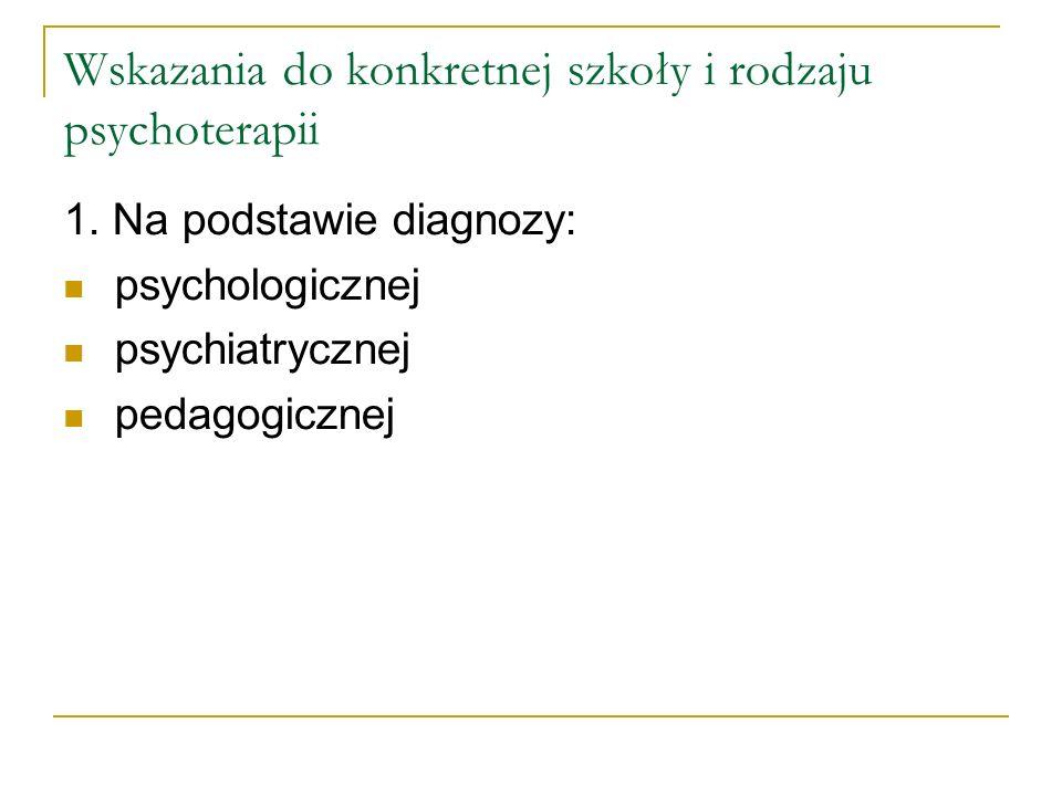 Wskazania do konkretnej szkoły i rodzaju psychoterapii 1. Na podstawie diagnozy: psychologicznej psychiatrycznej pedagogicznej