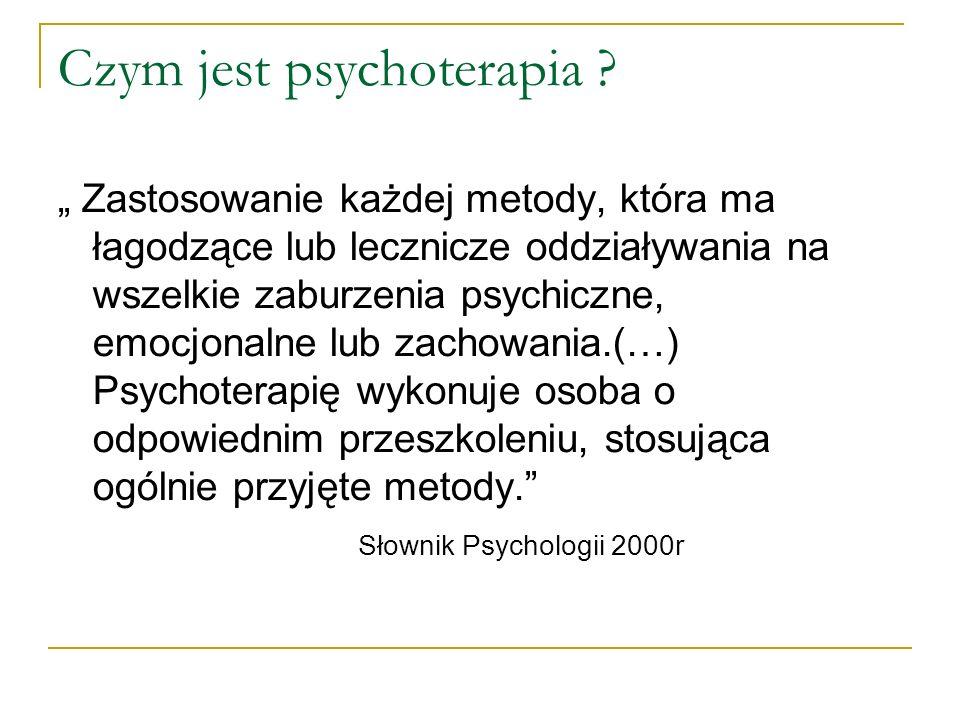 Psychoterapia : Opiera się na diagnozie klinicznej (medycznej i psychologicznej) Odwołuje się do koncepcji zdrowia i choroby Korzysta ze współpracy z lekarzem psychiatrą Korzysta z innych konsultacji (np.
