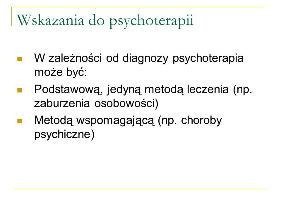 Wskazania do psychoterapii W zależności od diagnozy psychoterapia może być: Podstawową, jedyną metodą leczenia (np. zaburzenia osobowości) Metodą wspo