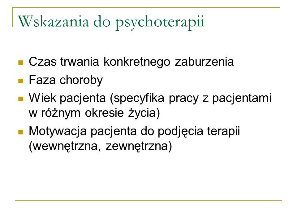 Wskazania do psychoterapii Czas trwania konkretnego zaburzenia Faza choroby Wiek pacjenta (specyfika pracy z pacjentami w różnym okresie życia) Motywa