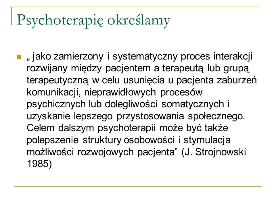Psychoterapię określamy jako zamierzony i systematyczny proces interakcji rozwijany między pacjentem a terapeutą lub grupą terapeutyczną w celu usunię