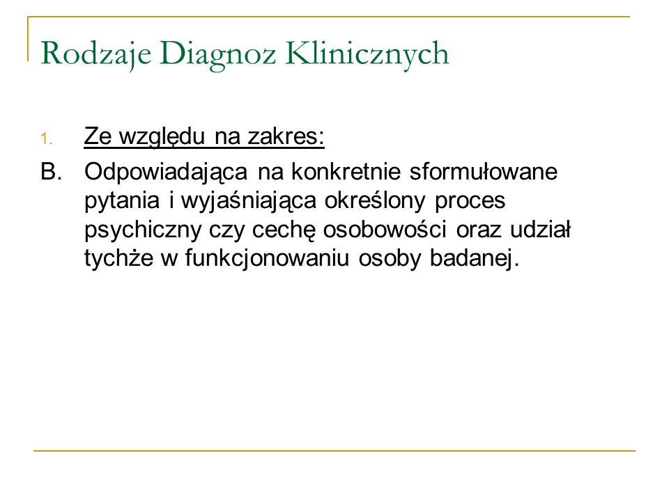 Rodzaje Diagnoz Klinicznych 1. Ze względu na zakres: B. Odpowiadająca na konkretnie sformułowane pytania i wyjaśniająca określony proces psychiczny cz