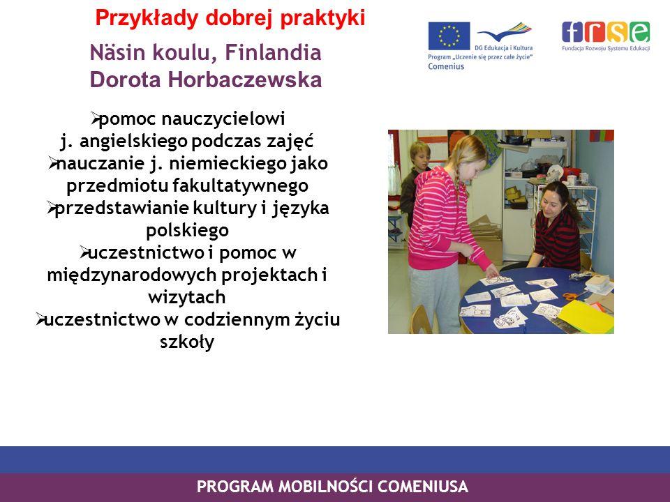 Näsin koulu, Finlandia Dorota Horbaczewska PROGRAM MOBILNOŚCI COMENIUSA Przykłady dobrej praktyki pomoc nauczycielowi j. angielskiego podczas zajęć na
