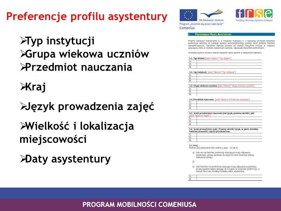 Typ instytucji Grupa wiekowa uczniów Przedmiot nauczania Kraj Język prowadzenia zajęć Wielkość i lokalizacja miejscowości Daty asystentury PROGRAM MOB
