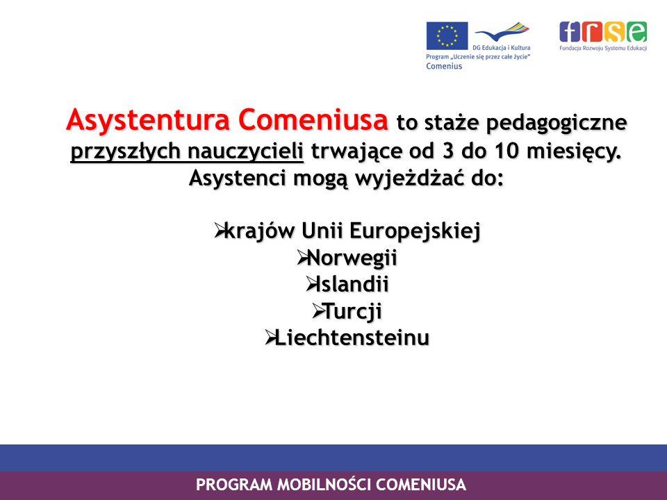 PROGRAM MOBILNOŚCI COMENIUSA Asystentura Comeniusa to staże pedagogiczne przyszłych nauczycieli trwające od 3 do 10 miesięcy. Asystenci mogą wyjeżdżać