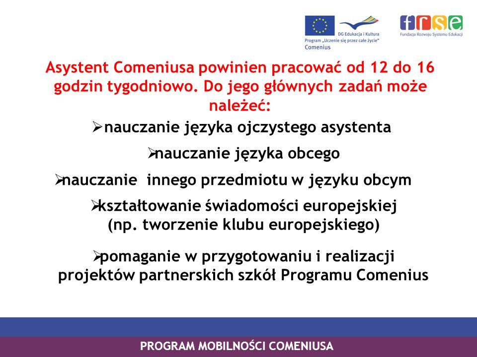 Asystent Comeniusa powinien pracować od 12 do 16 godzin tygodniowo. Do jego głównych zadań może należeć: PROGRAM MOBILNOŚCI COMENIUSA nauczanie języka