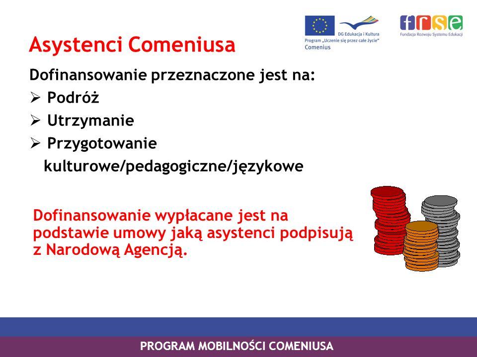 PROGRAM MOBILNOŚCI COMENIUSA Asystenci Comeniusa Dofinansowanie przeznaczone jest na: Podróż Utrzymanie Przygotowanie kulturowe/pedagogiczne/językowe