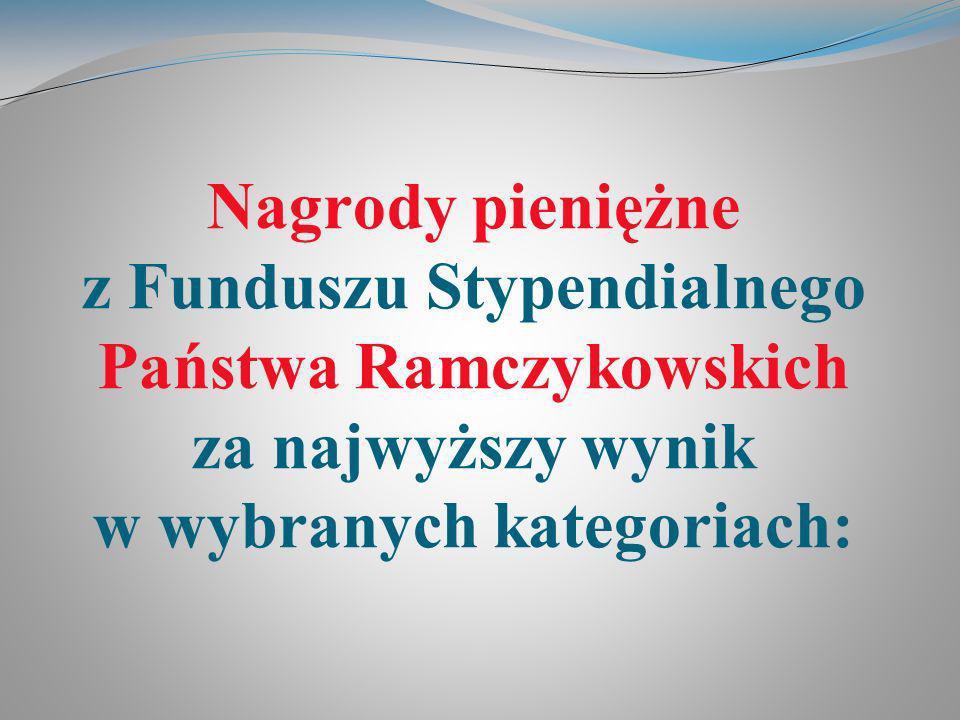 Nagrody pieniężne z Funduszu Stypendialnego Państwa Ramczykowskich za najwyższy wynik w wybranych kategoriach:
