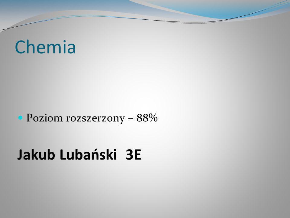 Chemia Poziom rozszerzony – 88% Jakub Lubański 3E