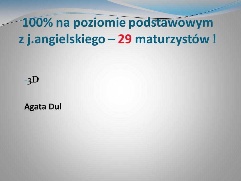 100% na poziomie podstawowym z j.angielskiego – 29 maturzystów ! - 3D Agata Dul