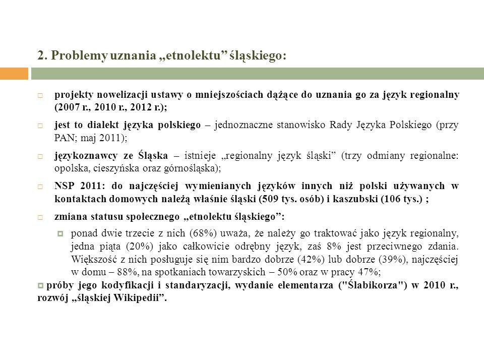 2. Problemy uznania etnolektu śląskiego: projekty nowelizacji ustawy o mniejszościach dążące do uznania go za język regionalny (2007 r., 2010 r., 2012