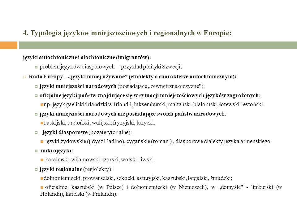 4. Typologia języków mniejszościowych i regionalnych w Europie: języki autochtoniczne i alochtoniczne (imigrantów): problem języków diasporowych – prz